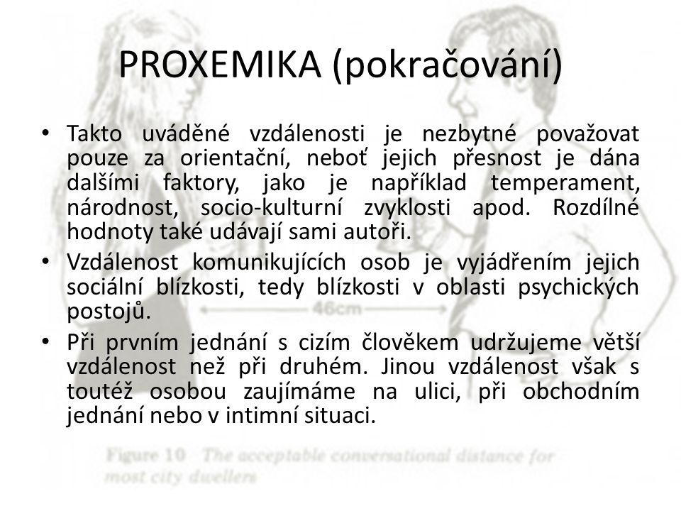 PROXEMIKA (pokračování) Takto uváděné vzdálenosti je nezbytné považovat pouze za orientační, neboť jejich přesnost je dána dalšími faktory, jako je na