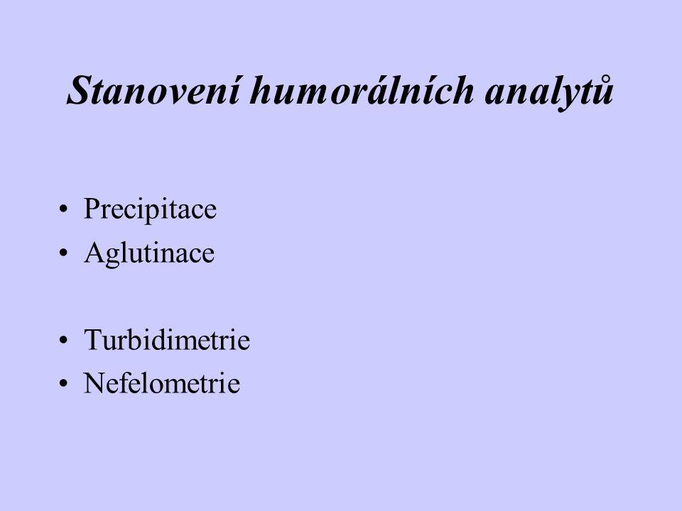 Stanovení humorálních analytů Precipitace Aglutinace Turbidimetrie Nefelometrie