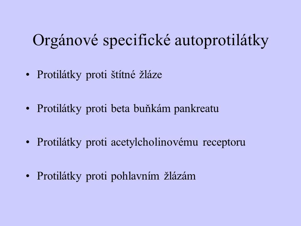Orgánové specifické autoprotilátky Protilátky proti štítné žláze Protilátky proti beta buňkám pankreatu Protilátky proti acetylcholinovému receptoru P