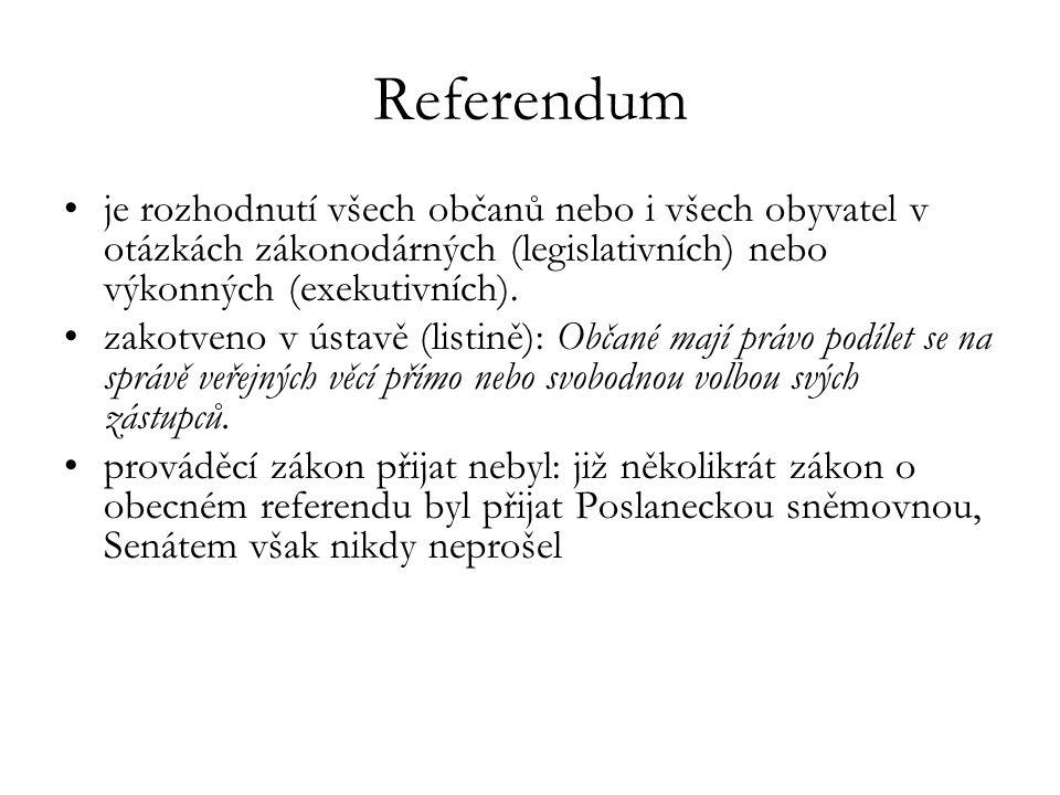 Referendum je rozhodnutí všech občanů nebo i všech obyvatel v otázkách zákonodárných (legislativních) nebo výkonných (exekutivních). zakotveno v ústav