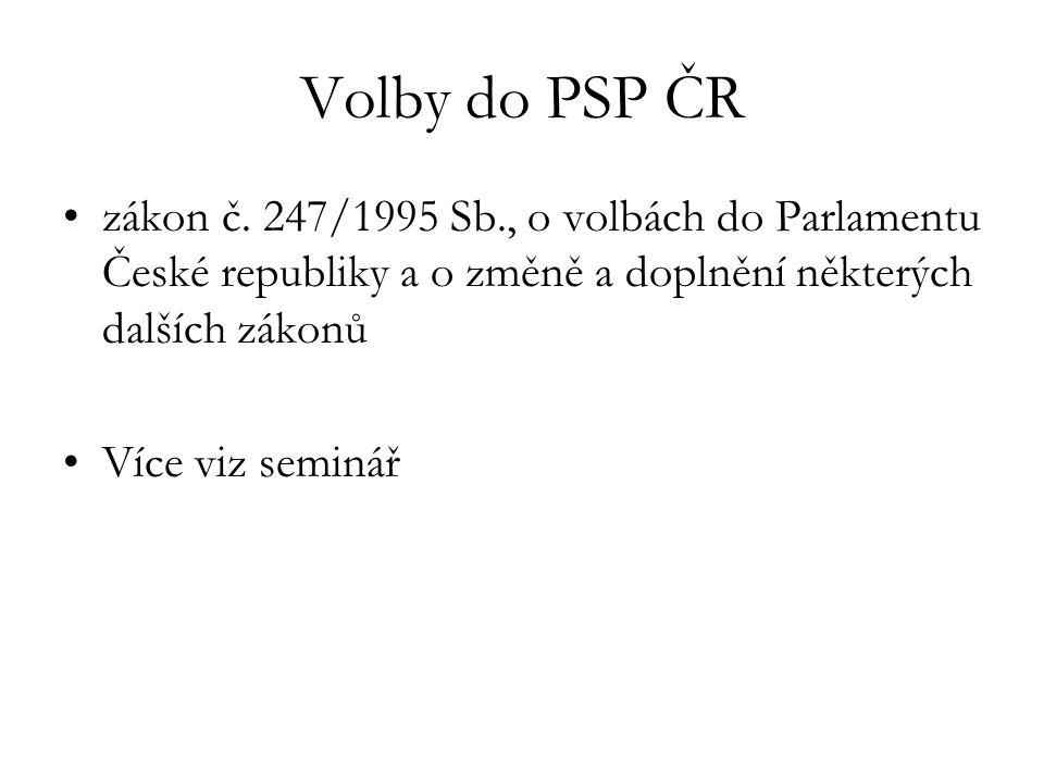 Volby do PSP ČR zákon č. 247/1995 Sb., o volbách do Parlamentu České republiky a o změně a doplnění některých dalších zákonů Více viz seminář