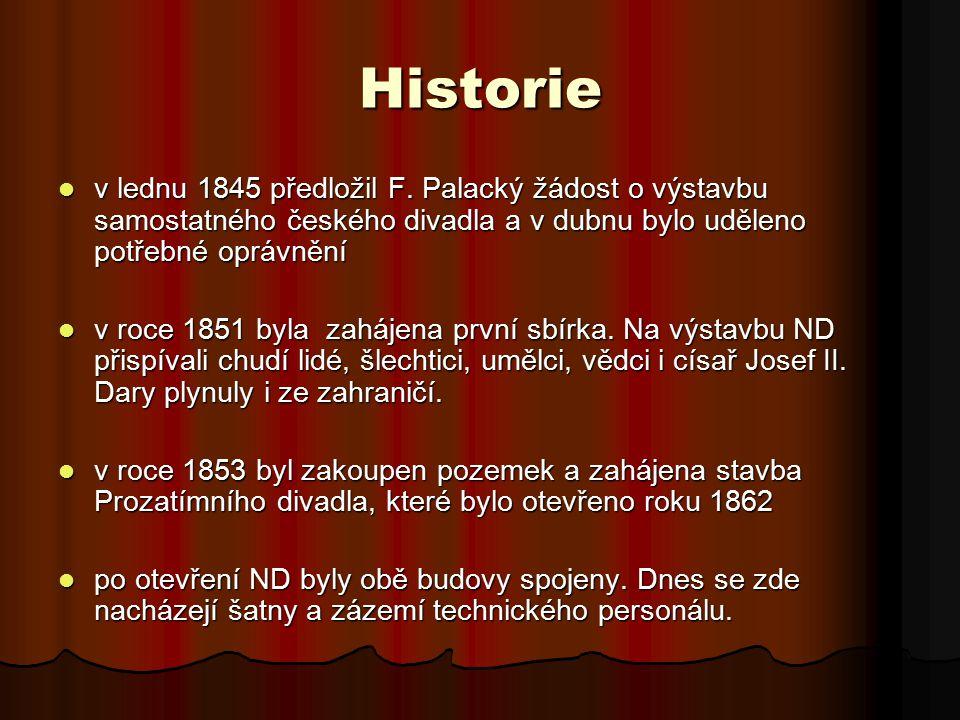 Historie v lednu 1845 předložil F. Palacký žádost o výstavbu samostatného českého divadla a v dubnu bylo uděleno potřebné oprávnění v lednu 1845 předl