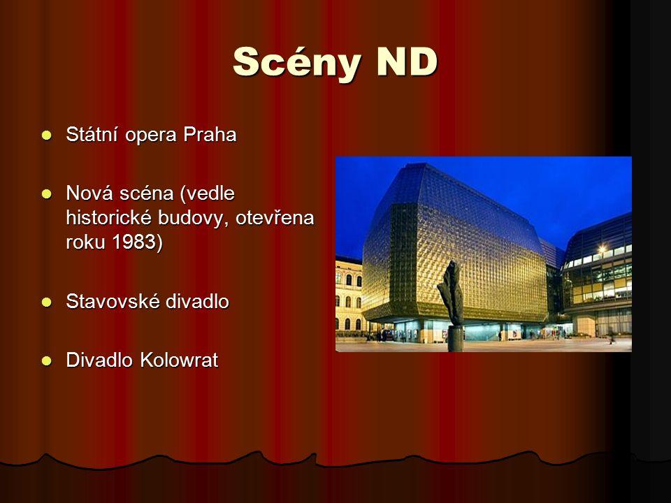 Scény ND Státní opera Praha Státní opera Praha Nová scéna (vedle historické budovy, otevřena roku 1983) Nová scéna (vedle historické budovy, otevřena