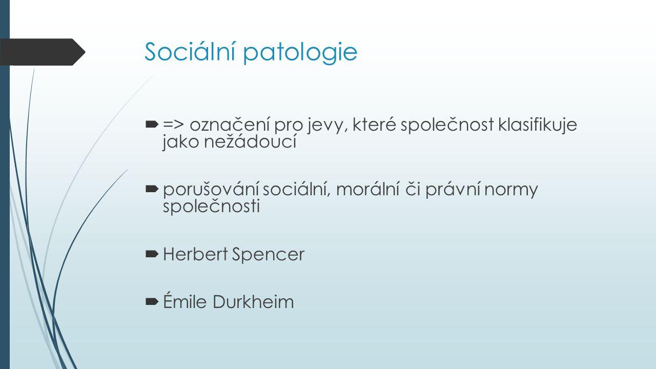 Sociální patologie  => označení pro jevy, které společnost klasifikuje jako nežádoucí  porušování sociální, morální či právní normy společnosti  Herbert Spencer  Émile Durkheim