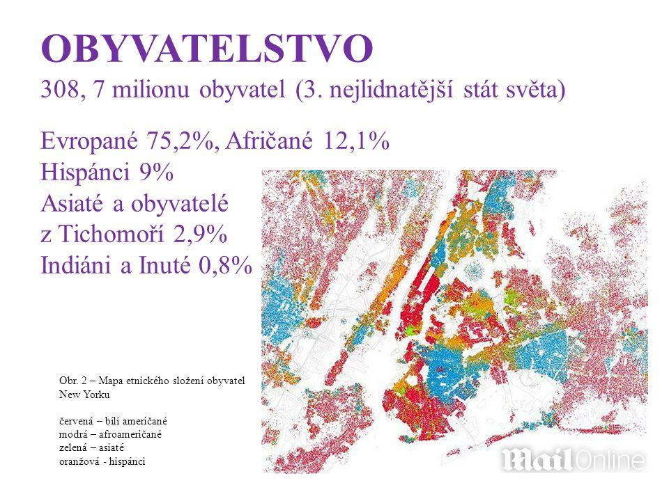 OBYVATELSTVO 308, 7 milionu obyvatel (3. nejlidnatější stát světa) Evropané 75,2%, Afričané 12,1% Hispánci 9% Asiaté a obyvatelé z Tichomoří 2,9% Indi