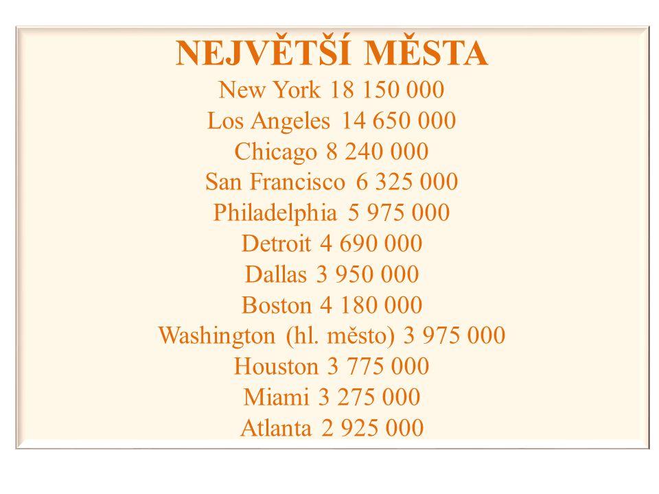 NEJVĚTŠÍ MĚSTA New York 18 150 000 Los Angeles 14 650 000 Chicago 8 240 000 San Francisco 6 325 000 Philadelphia 5 975 000 Detroit 4 690 000 Dallas 3