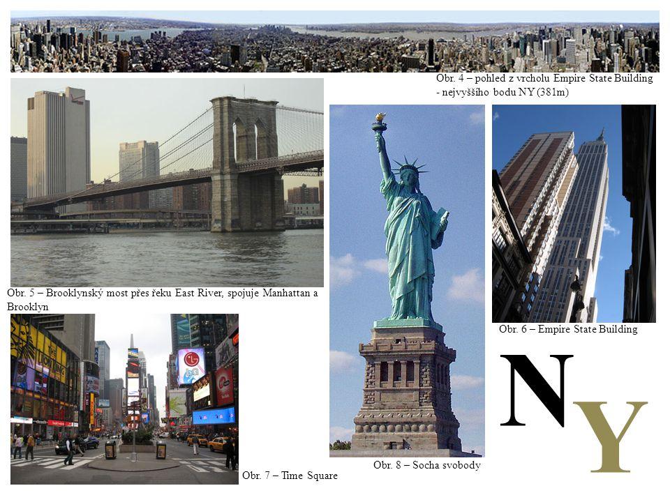 Obr. 4 – pohled z vrcholu Empire State Building - nejvyššího bodu NY (381m) Obr. 5 – Brooklynský most přes řeku East River, spojuje Manhattan a Brookl