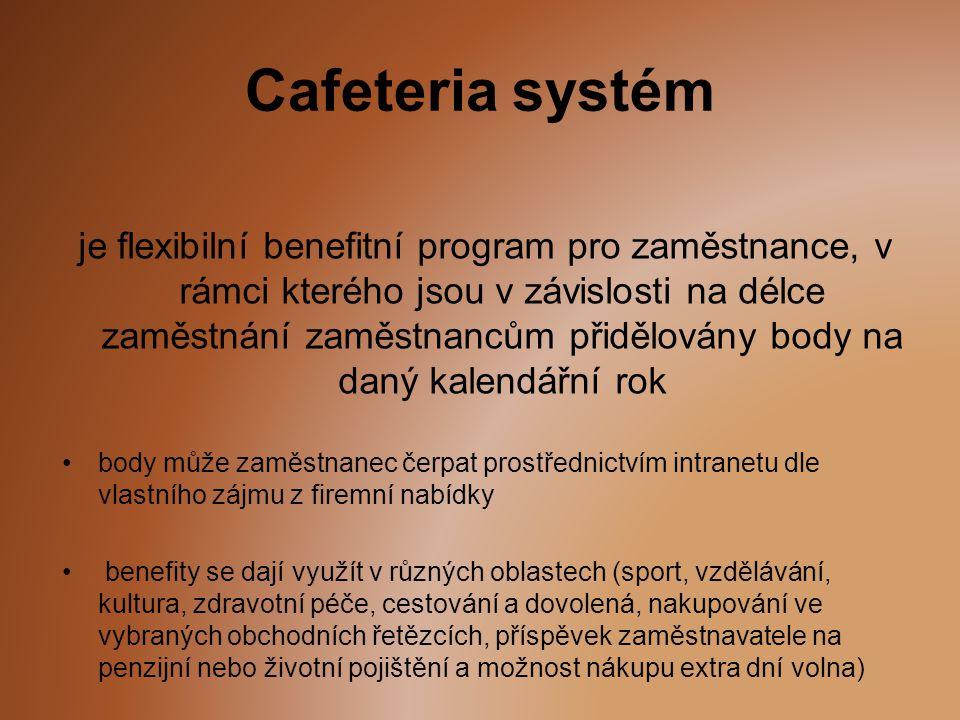 Cafeteria systém je flexibilní benefitní program pro zaměstnance, v rámci kterého jsou v závislosti na délce zaměstnání zaměstnancům přidělovány body