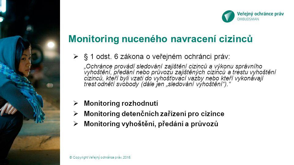Monitoring rozhodnutí  Systematická analýza správních a soudních rozhodnutí © Copyright Veřejný ochránce práv, 2015