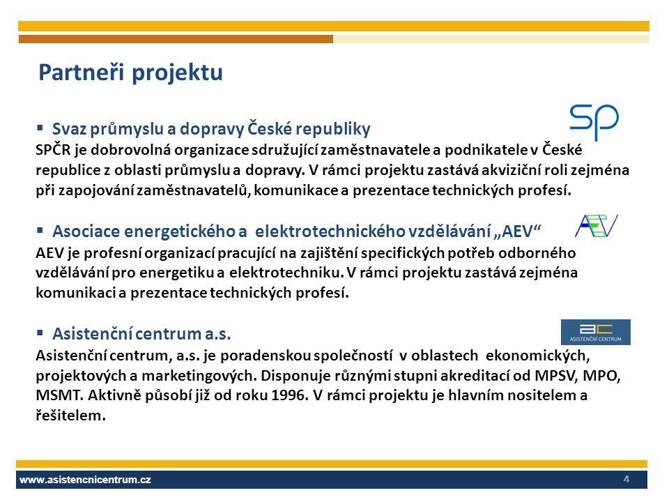 www.asistencnicentrum.cz 4 Partneři projektu  Svaz průmyslu a dopravy České republiky SPČR je dobrovolná organizace sdružující zaměstnavatele a podni
