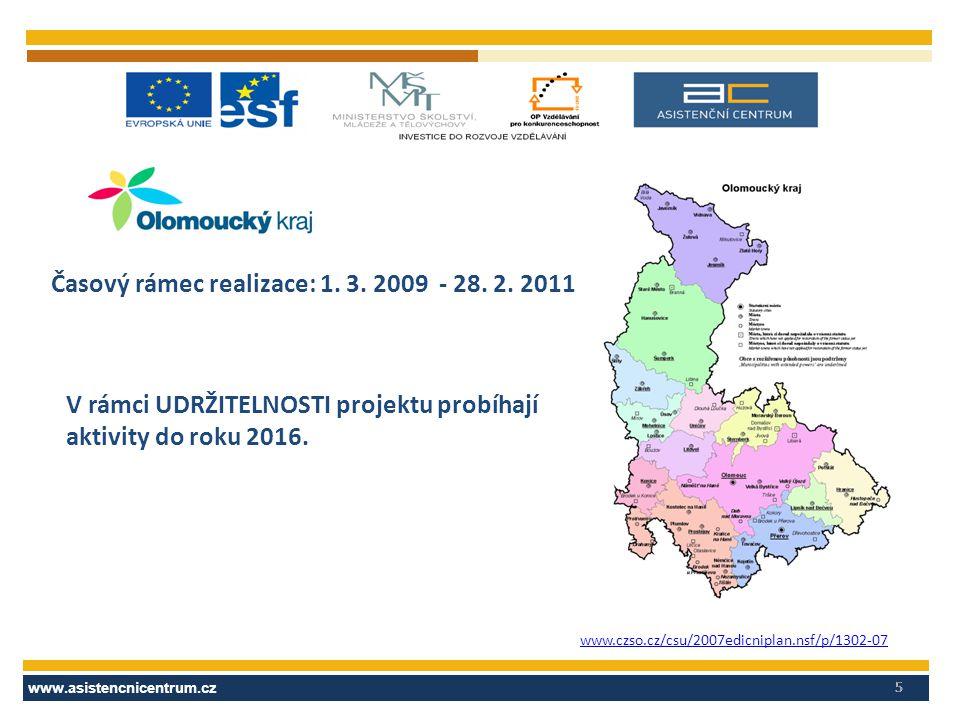 www.asistencnicentrum.cz 5 www.czso.cz/csu/2007edicniplan.nsf/p/1302-07 Časový rámec realizace: 1. 3. 2009 - 28. 2. 2011 V rámci UDRŽITELNOSTI projekt