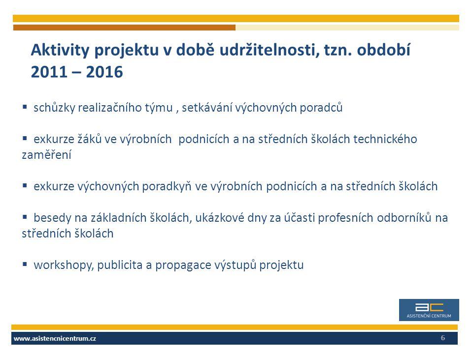 www.asistencnicentrum.cz 6 Aktivity projektu v době udržitelnosti, tzn. období 2011 – 2016  schůzky realizačního týmu, setkávání výchovných poradců 