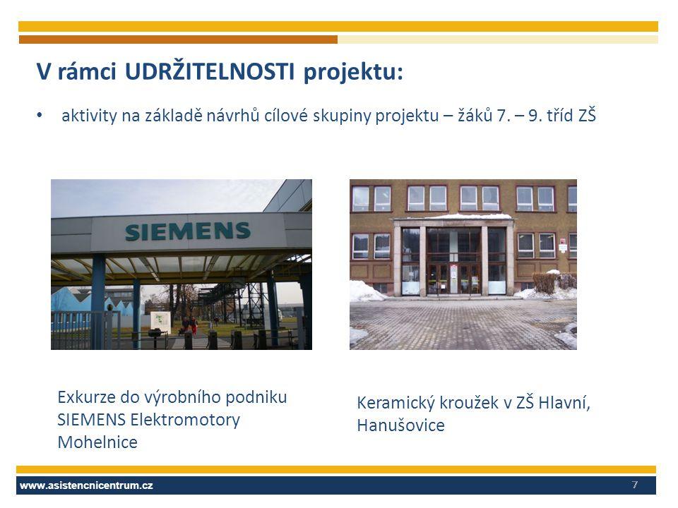 www.asistencnicentrum.cz 7 V rámci UDRŽITELNOSTI projektu: aktivity na základě návrhů cílové skupiny projektu – žáků 7.