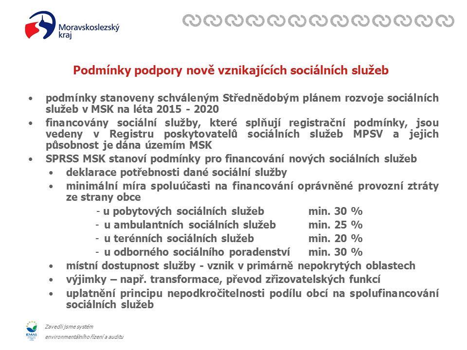 Zavedli jsme systém environmentálního řízení a auditu Podmínky podpory nově vznikajících sociálních služeb podmínky stanoveny schváleným Střednědobým plánem rozvoje sociálních služeb v MSK na léta 2015 - 2020 financovány sociální služby, které splňují registrační podmínky, jsou vedeny v Registru poskytovatelů sociálních služeb MPSV a jejich působnost je dána územím MSK SPRSS MSK stanoví podmínky pro financování nových sociálních služeb deklarace potřebnosti dané sociální služby minimální míra spoluúčasti na financování oprávněné provozní ztráty ze strany obce - u pobytových sociálních služeb min.