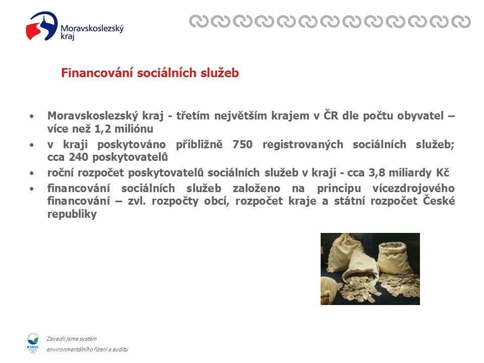Zavedli jsme systém environmentálního řízení a auditu Financování sociálních služeb Moravskoslezský kraj - třetím největším krajem v ČR dle počtu obyvatel – více než 1,2 miliónu v kraji poskytováno přibližně 750 registrovaných sociálních služeb; cca 240 poskytovatelů roční rozpočet poskytovatelů sociálních služeb v kraji - cca 3,8 miliardy Kč financování sociálních služeb založeno na principu vícezdrojového financování – zvl.