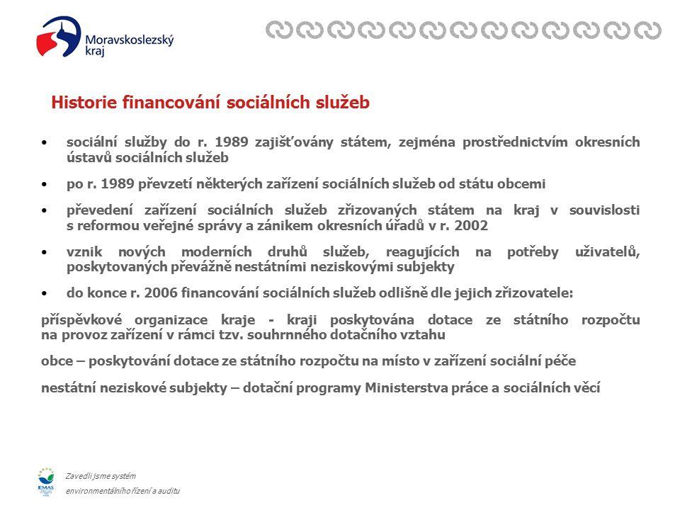 Zavedli jsme systém environmentálního řízení a auditu Historie financování sociálních služeb sociální služby do r.