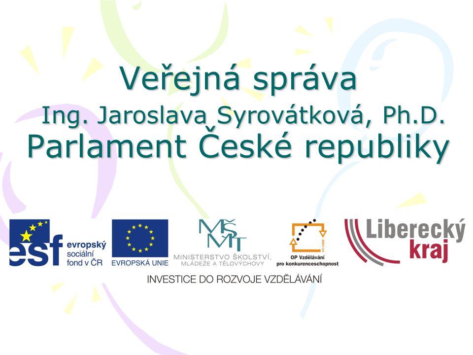 Veřejná správa Ing. Jaroslava Syrovátková, Ph.D. Parlament České republiky