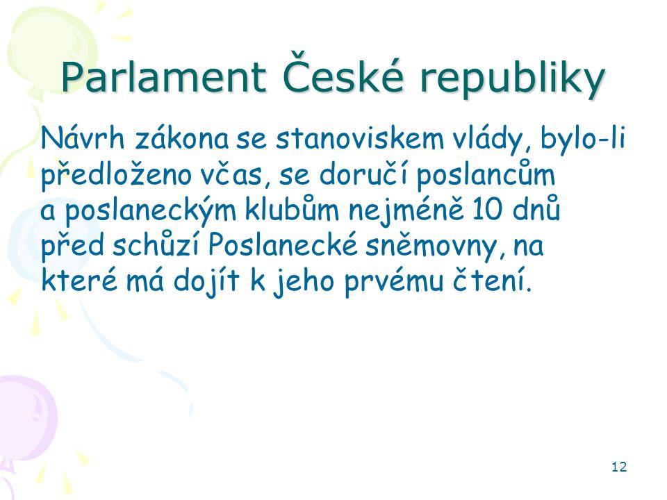 12 Parlament České republiky Návrh zákona se stanoviskem vlády, bylo-li předloženo včas, se doručí poslancům a poslaneckým klubům nejméně 10 dnů před schůzí Poslanecké sněmovny, na které má dojít k jeho prvému čtení.