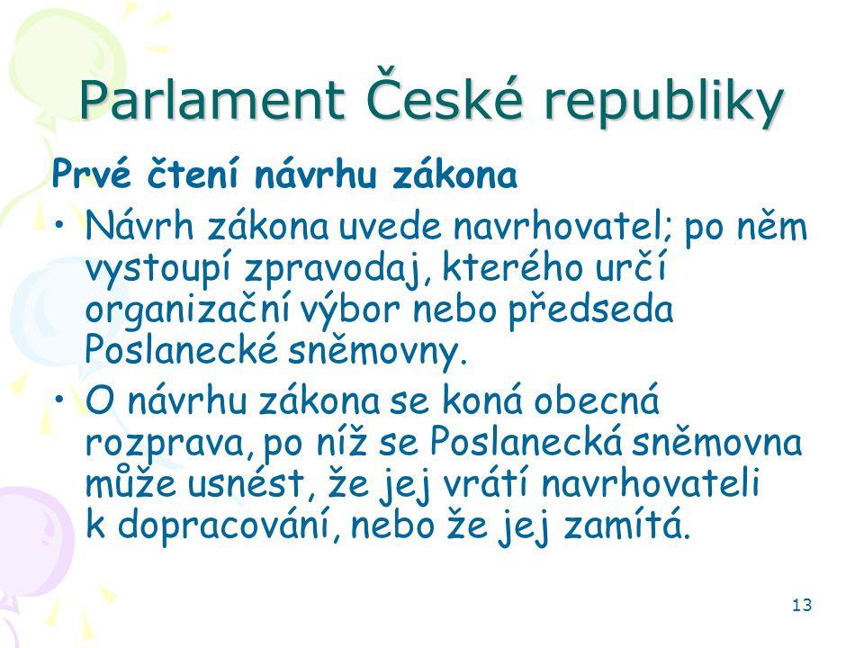 13 Parlament České republiky Prvé čtení návrhu zákona Návrh zákona uvede navrhovatel; po něm vystoupí zpravodaj, kterého určí organizační výbor nebo předseda Poslanecké sněmovny.