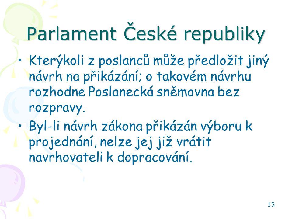 15 Parlament České republiky Kterýkoli z poslanců může předložit jiný návrh na přikázání; o takovém návrhu rozhodne Poslanecká sněmovna bez rozpravy.