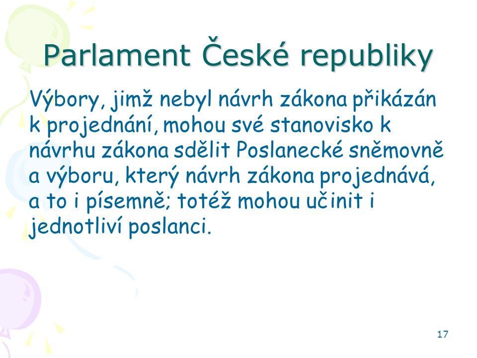 17 Parlament České republiky Výbory, jimž nebyl návrh zákona přikázán k projednání, mohou své stanovisko k návrhu zákona sdělit Poslanecké sněmovně a výboru, který návrh zákona projednává, a to i písemně; totéž mohou učinit i jednotliví poslanci.