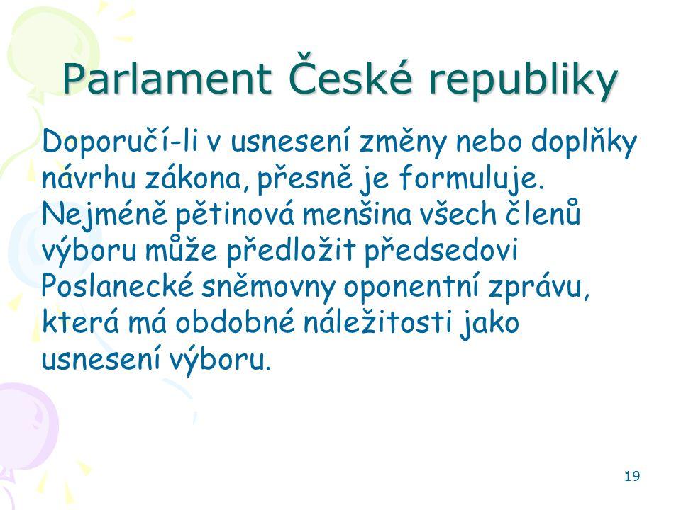 19 Parlament České republiky Doporučí-li v usnesení změny nebo doplňky návrhu zákona, přesně je formuluje. Nejméně pětinová menšina všech členů výboru