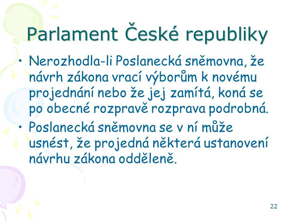 22 Parlament České republiky Nerozhodla-li Poslanecká sněmovna, že návrh zákona vrací výborům k novému projednání nebo že jej zamítá, koná se po obecné rozpravě rozprava podrobná.
