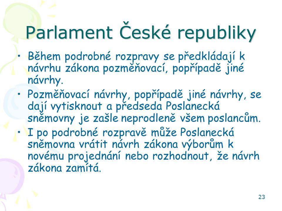 23 Parlament České republiky Během podrobné rozpravy se předkládají k návrhu zákona pozměňovací, popřípadě jiné návrhy. Pozměňovací návrhy, popřípadě