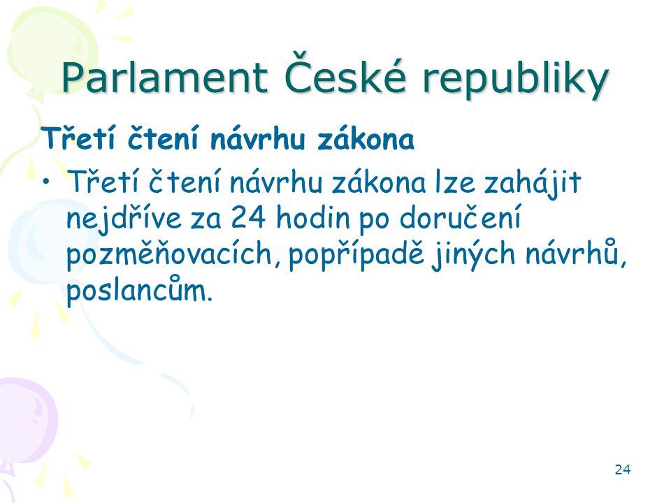 24 Parlament České republiky Třetí čtení návrhu zákona Třetí čtení návrhu zákona lze zahájit nejdříve za 24 hodin po doručení pozměňovacích, popřípadě