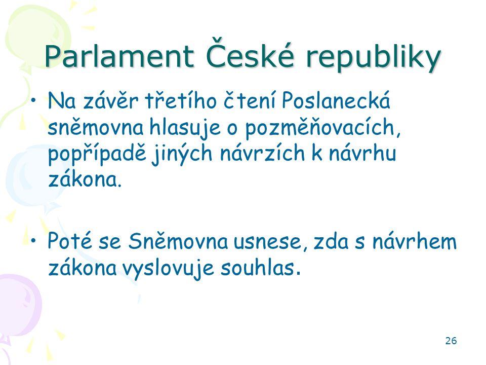 26 Parlament České republiky Na závěr třetího čtení Poslanecká sněmovna hlasuje o pozměňovacích, popřípadě jiných návrzích k návrhu zákona. Poté se Sn