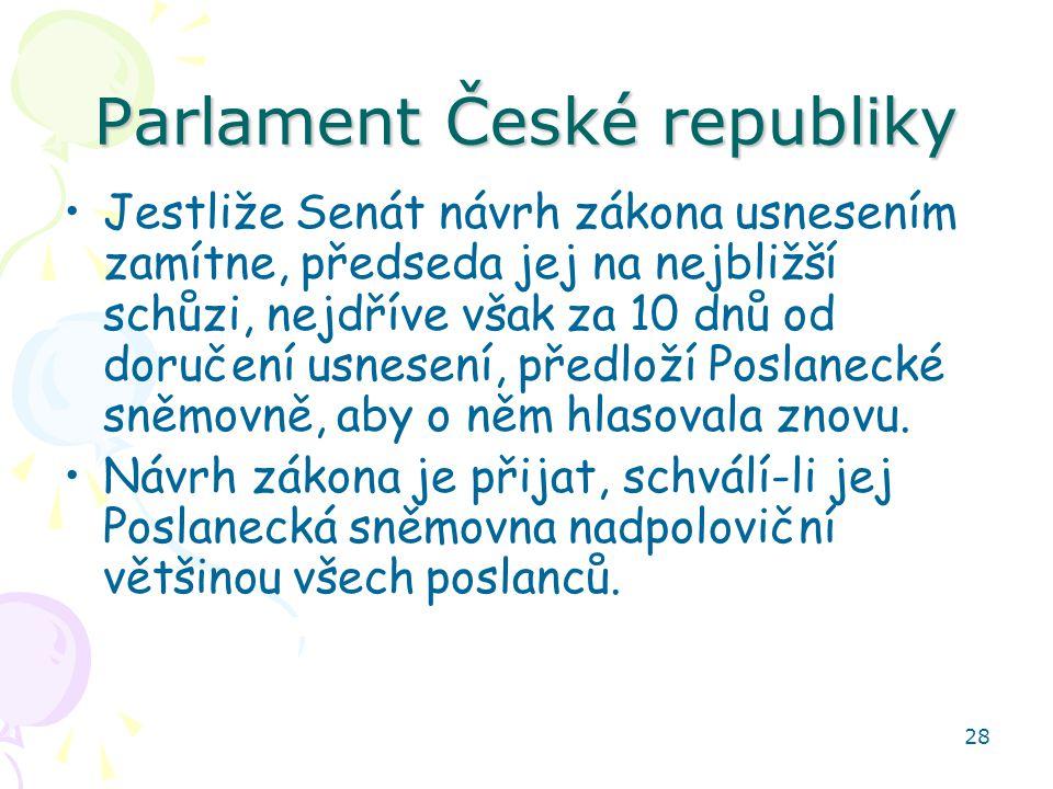 28 Parlament České republiky Jestliže Senát návrh zákona usnesením zamítne, předseda jej na nejbližší schůzi, nejdříve však za 10 dnů od doručení usne