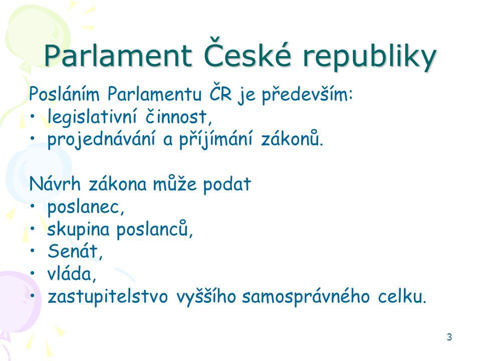 3 Parlament České republiky Posláním Parlamentu ČR je především: legislativní činnost, projednávání a příjímání zákonů. Návrh zákona může podat poslan