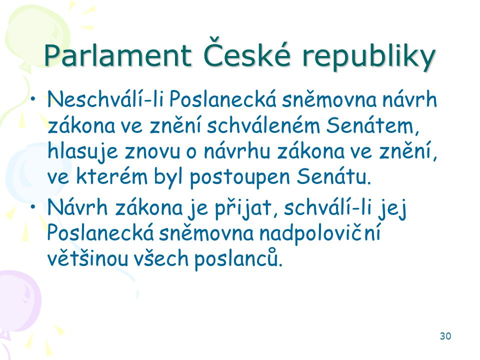 30 Parlament České republiky Neschválí-li Poslanecká sněmovna návrh zákona ve znění schváleném Senátem, hlasuje znovu o návrhu zákona ve znění, ve kterém byl postoupen Senátu.