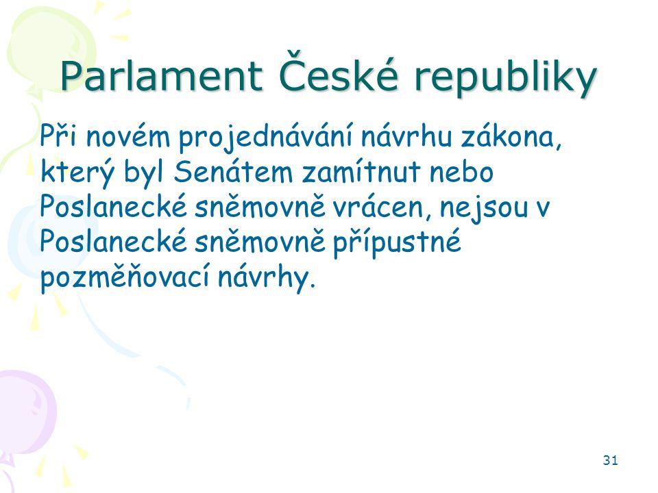 31 Parlament České republiky Při novém projednávání návrhu zákona, který byl Senátem zamítnut nebo Poslanecké sněmovně vrácen, nejsou v Poslanecké sněmovně přípustné pozměňovací návrhy.