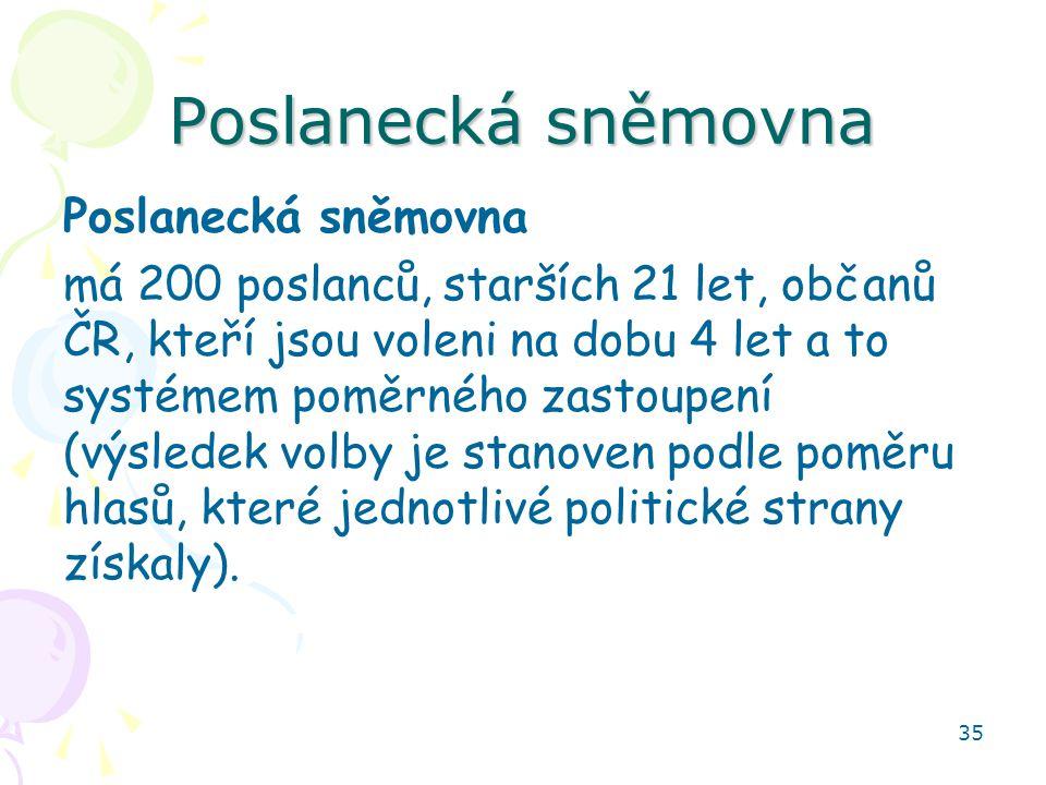 35 Poslanecká sněmovna má 200 poslanců, starších 21 let, občanů ČR, kteří jsou voleni na dobu 4 let a to systémem poměrného zastoupení (výsledek volby