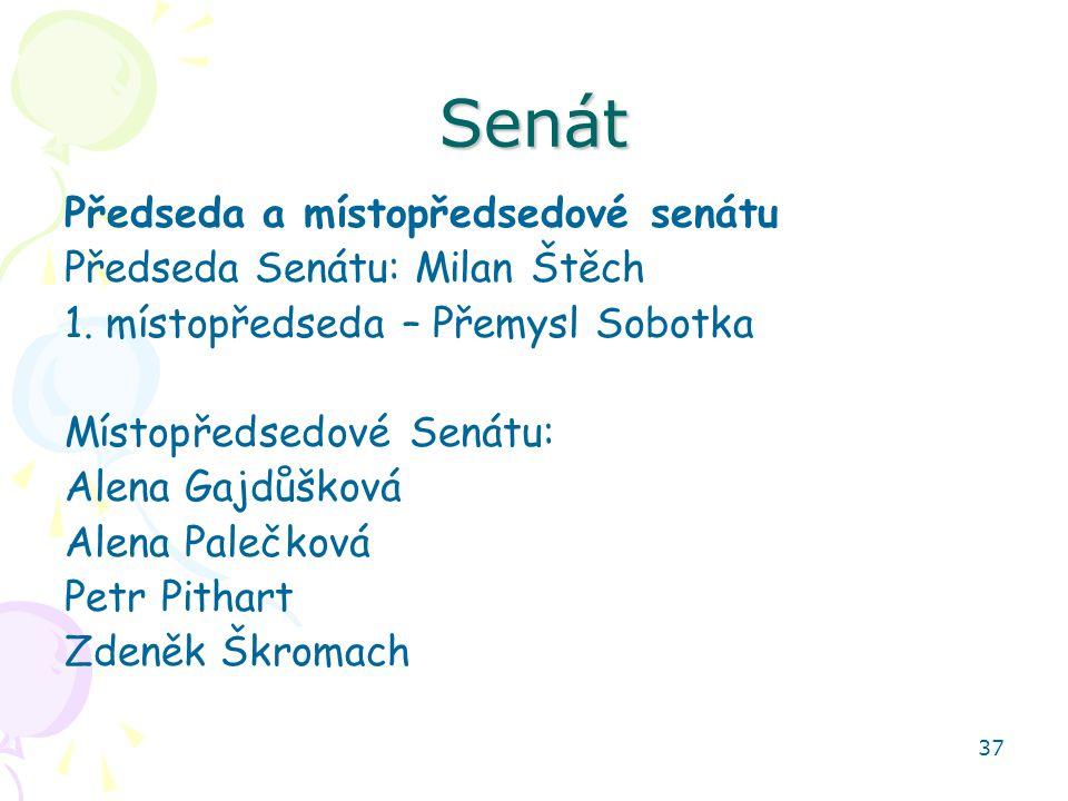 37 Senát Předseda a místopředsedové senátu Předseda Senátu: Milan Štěch 1. místopředseda – Přemysl Sobotka Místopředsedové Senátu: Alena Gajdůšková Al