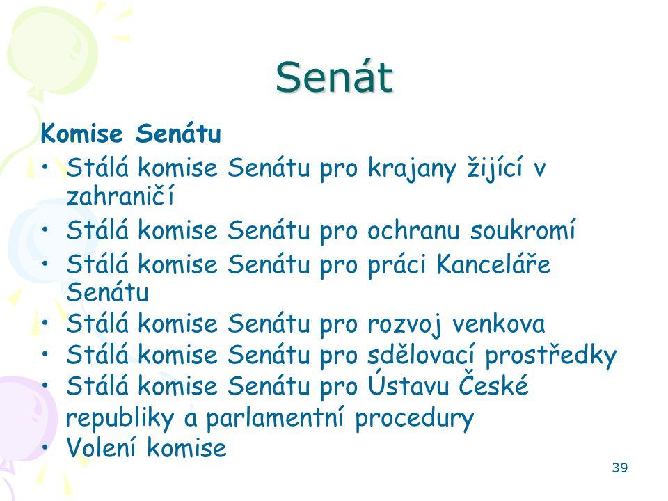 39 Senát Komise Senátu Stálá komise Senátu pro krajany žijící v zahraničí Stálá komise Senátu pro ochranu soukromí Stálá komise Senátu pro práci Kance