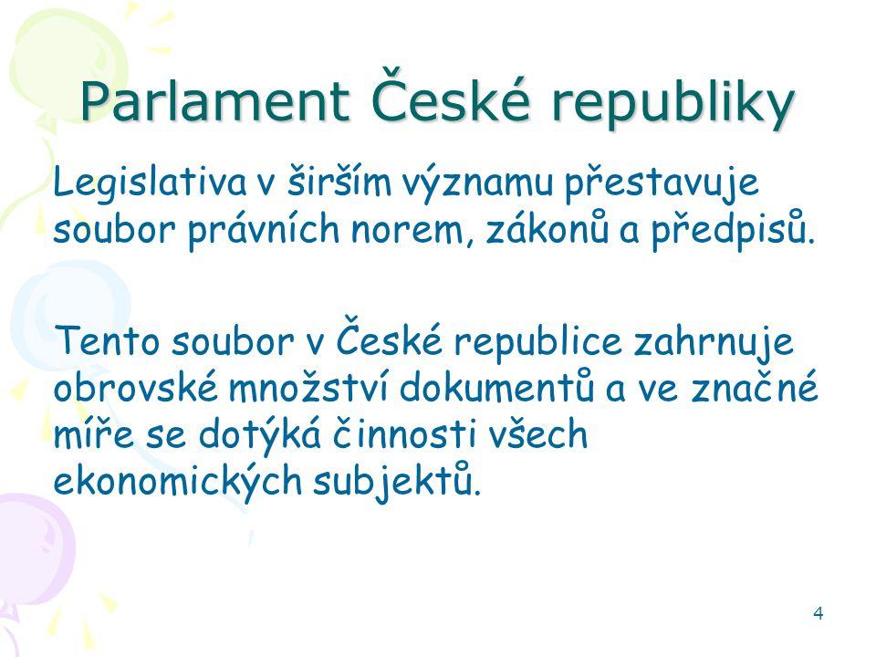 4 Parlament České republiky Legislativa v širším významu přestavuje soubor právních norem, zákonů a předpisů. Tento soubor v České republice zahrnuje