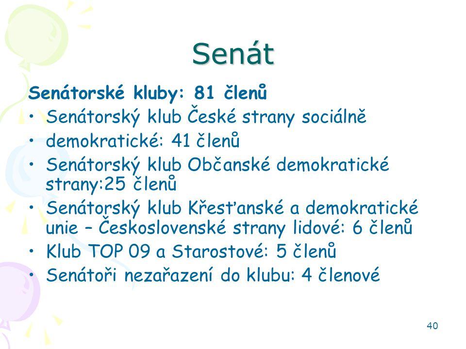 40 Senát Senátorské kluby: 81 členů Senátorský klub České strany sociálně demokratické: 41 členů Senátorský klub Občanské demokratické strany:25 členů