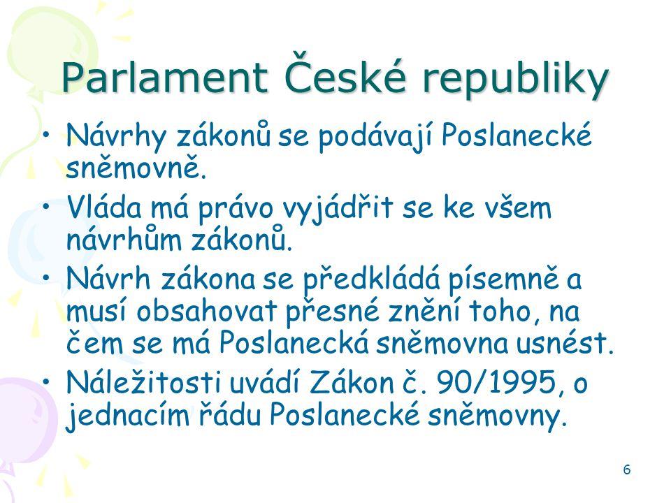 6 Parlament České republiky Návrhy zákonů se podávají Poslanecké sněmovně. Vláda má právo vyjádřit se ke všem návrhům zákonů. Návrh zákona se předklád