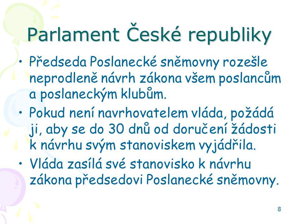 8 Parlament České republiky Předseda Poslanecké sněmovny rozešle neprodleně návrh zákona všem poslancům a poslaneckým klubům. Pokud není navrhovatelem