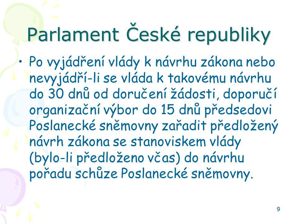9 Parlament České republiky Po vyjádření vlády k návrhu zákona nebo nevyjádří-li se vláda k takovému návrhu do 30 dnů od doručení žádosti, doporučí organizační výbor do 15 dnů předsedovi Poslanecké sněmovny zařadit předložený návrh zákona se stanoviskem vlády (bylo-li předloženo včas) do návrhu pořadu schůze Poslanecké sněmovny.
