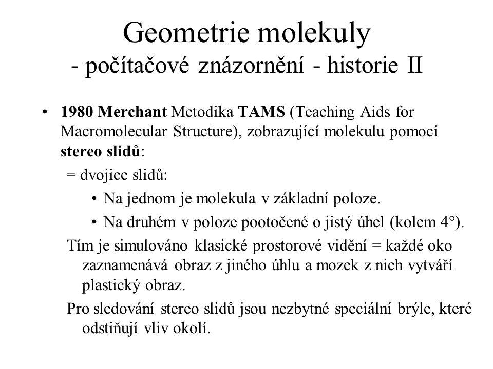 Geometrie molekuly - počítačové znázornění - historie II 1980 Merchant Metodika TAMS (Teaching Aids for Macromolecular Structure), zobrazující molekul