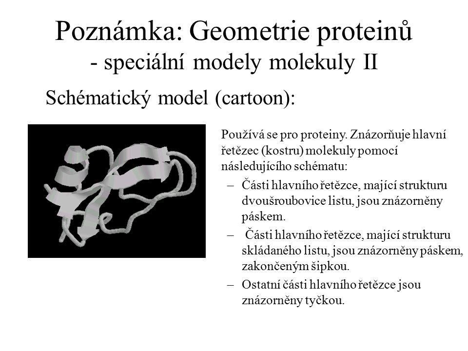 Poznámka: Geometrie proteinů - speciální modely molekuly II Schématický model (cartoon): Používá se pro proteiny. Znázorňuje hlavní řetězec (kostru) m