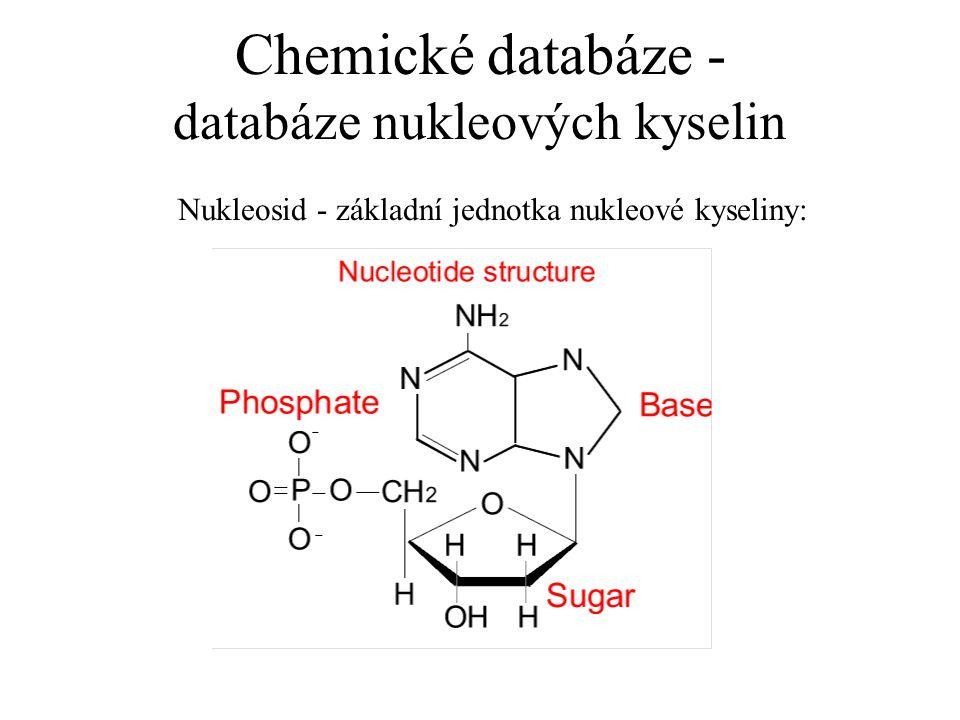 Chemické databáze - databáze nukleových kyselin Nukleosid - základní jednotka nukleové kyseliny: