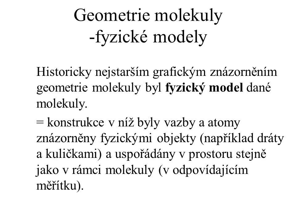 Geometrie molekuly -fyzické modely Historicky nejstarším grafickým znázorněním geometrie molekuly byl fyzický model dané molekuly. = konstrukce v níž
