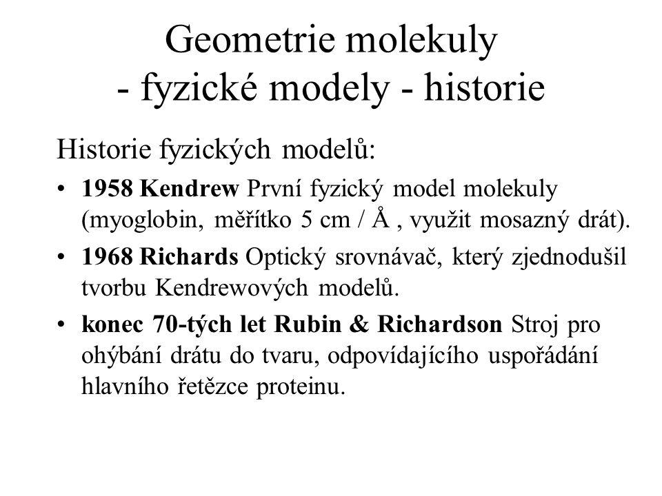 Geometrie molekuly - fyzické modely - historie Historie fyzických modelů: 1958 Kendrew První fyzický model molekuly (myoglobin, měřítko 5 cm / Å, využ