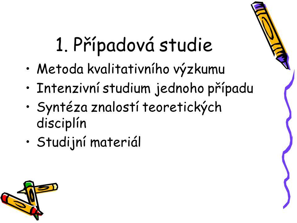 1. Případová studie Metoda kvalitativního výzkumu Intenzivní studium jednoho případu Syntéza znalostí teoretických disciplín Studijní materiál