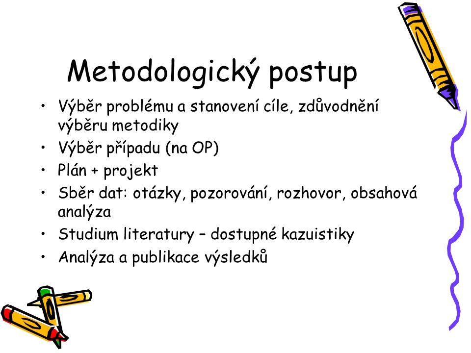 Metodologický postup Výběr problému a stanovení cíle, zdůvodnění výběru metodiky Výběr případu (na OP) Plán + projekt Sběr dat: otázky, pozorování, ro
