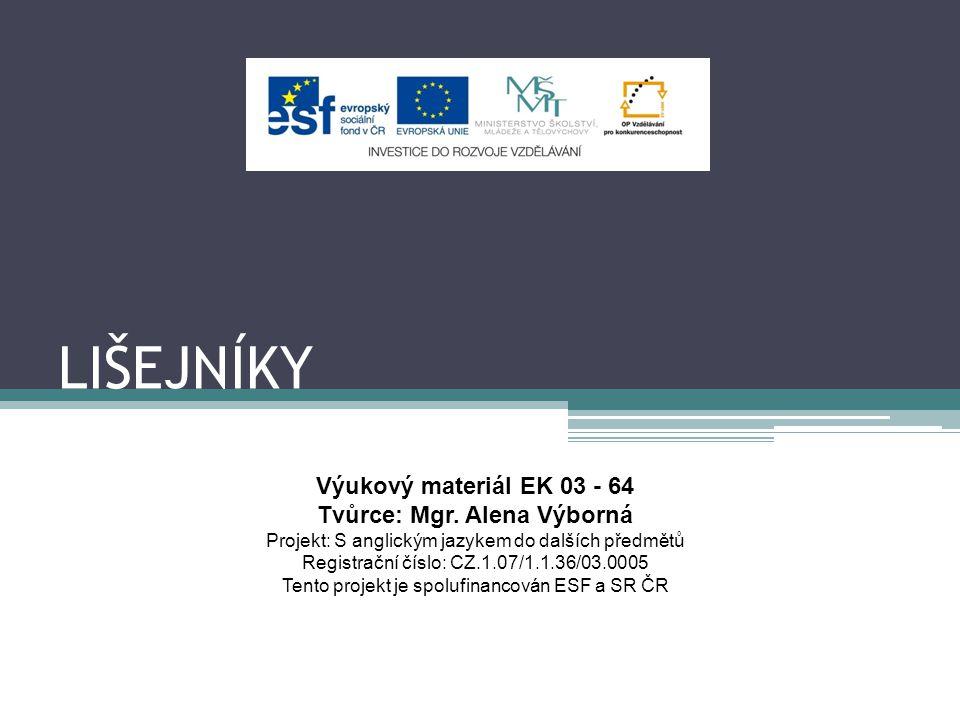 LIŠEJNÍKY Výukový materiál EK 03 - 64 Tvůrce: Mgr. Alena Výborná Projekt: S anglickým jazykem do dalších předmětů Registrační číslo: CZ.1.07/1.1.36/03